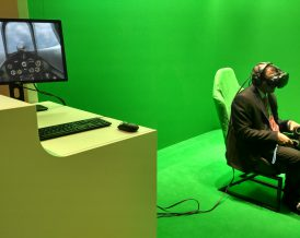 VR greenscreen at event  VR simulation